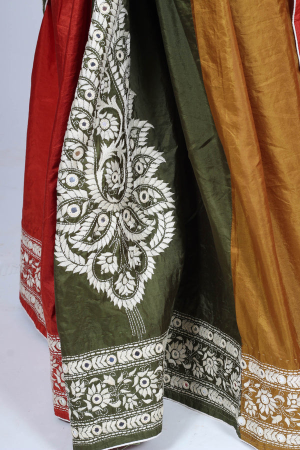 Kantha Saree Embroidered on Bangalore Silk