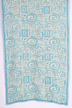 Off White and Blue Kantha Dupatta