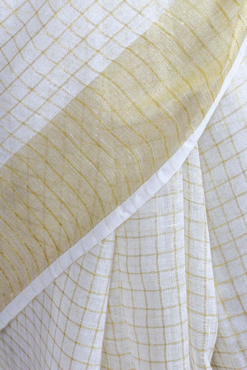 White and Gold Check Linen Saree