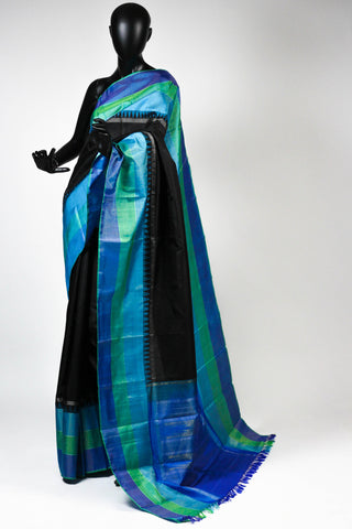 Black kanchipuram saree with green and blue border