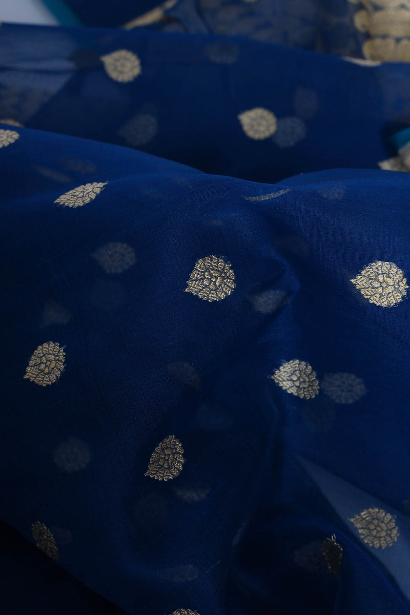 Blue kora silk benarasi saree