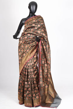 Black kora silk benarasi saree