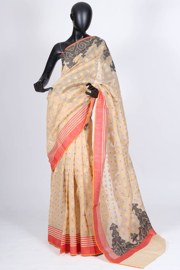 Beige cotton benarasi saree