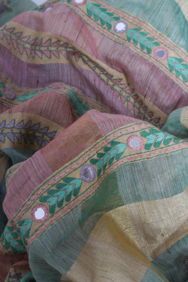 Green handwoven kantha saree