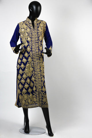 Blue Embroidered Suit with palazzo pants