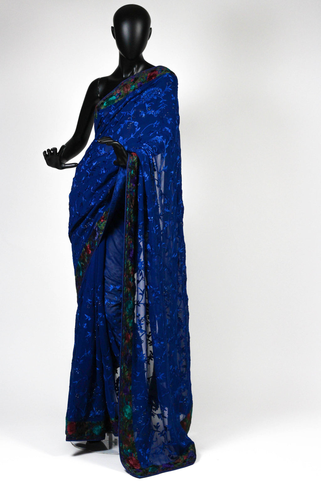 Midnight blue crepe saree with parsi and thread embroidery