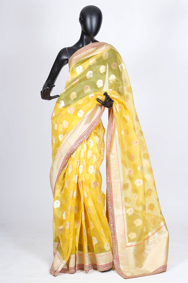 Sabyasachi yellow organza saree