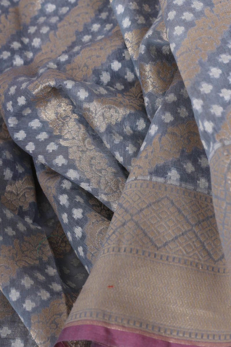 Grey cotton benarasi saree