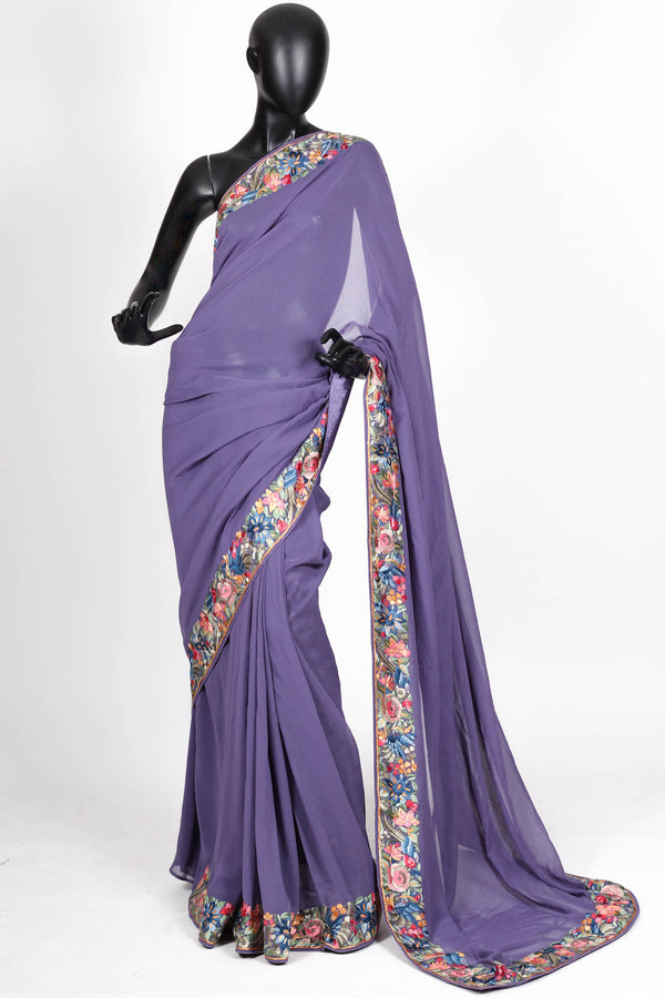 Purple Gara Parsi saree
