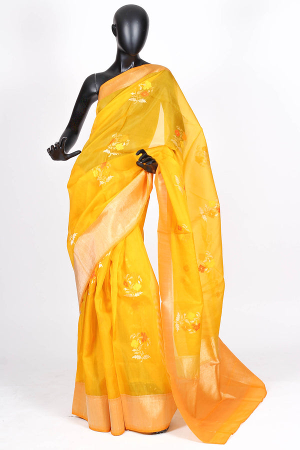 Yellow kora silk saree