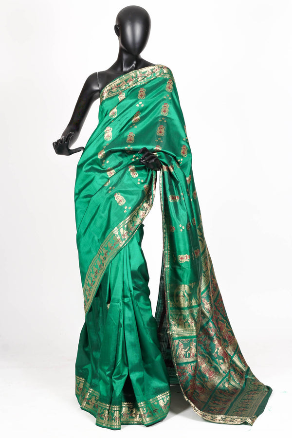 Green silk baluchari saree