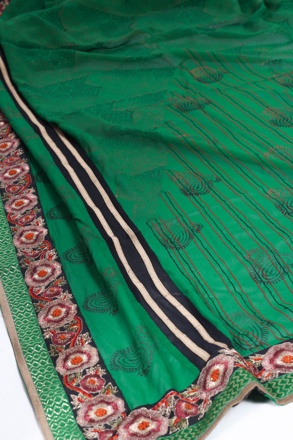 Green Georgette Saree