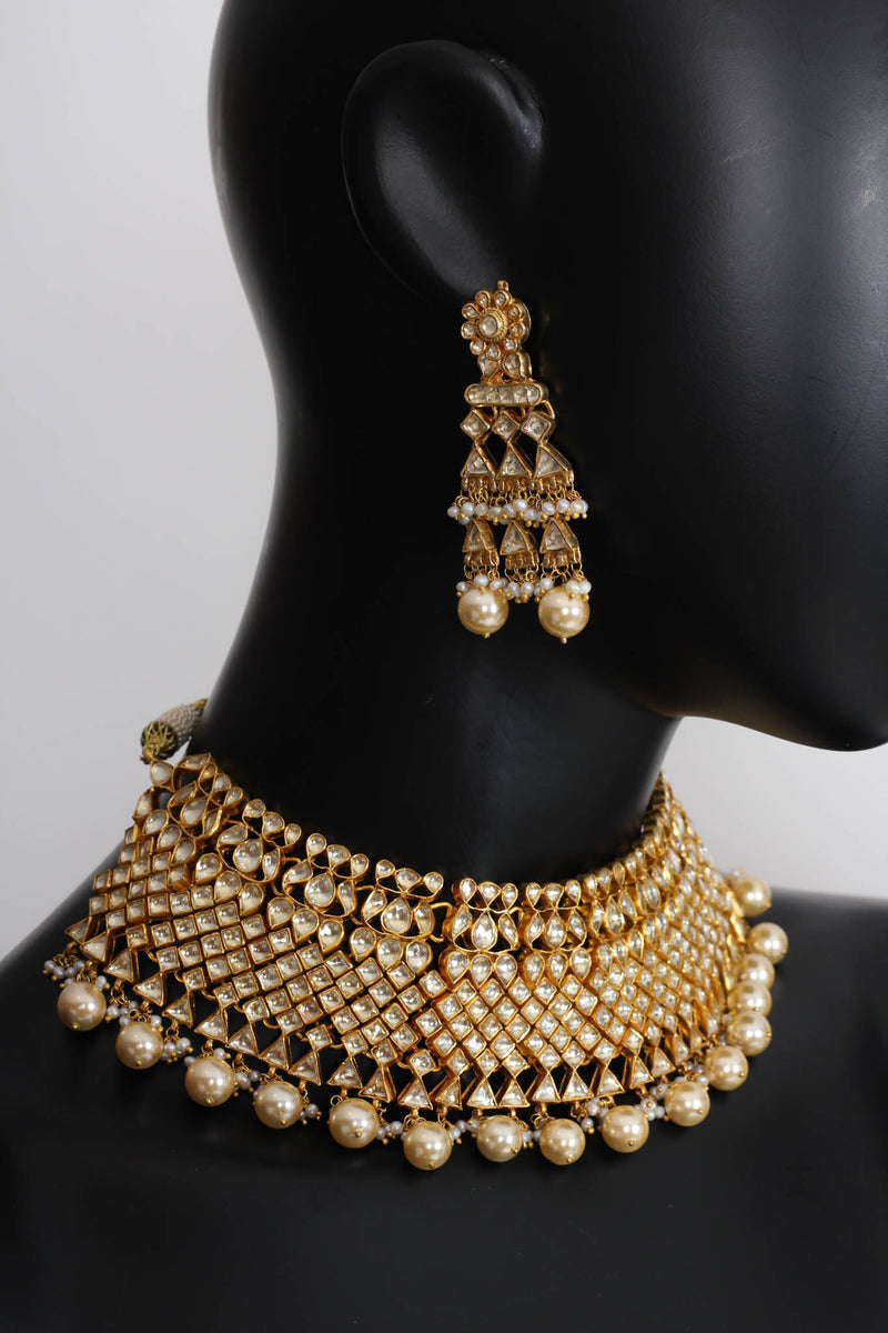 Silver Gold Plated Amrapali Necklace Set