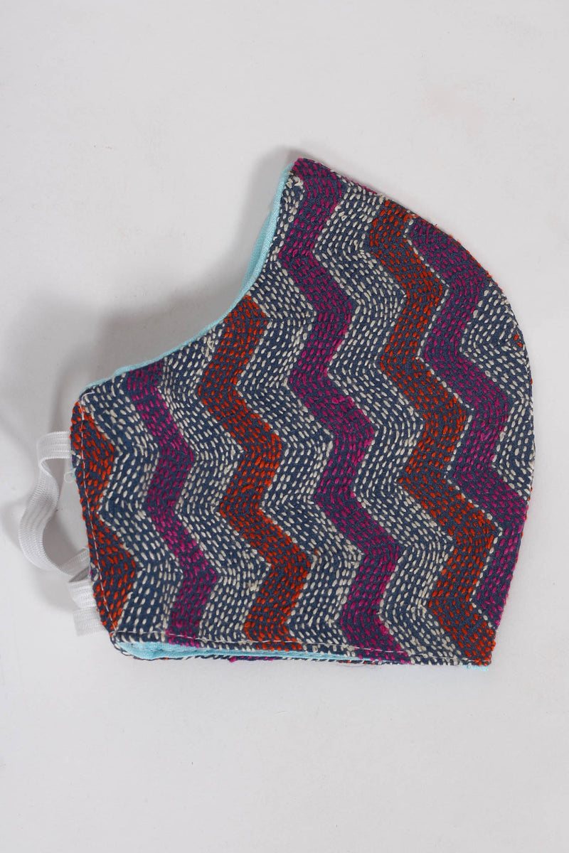 Chevron Waves Kantha mask