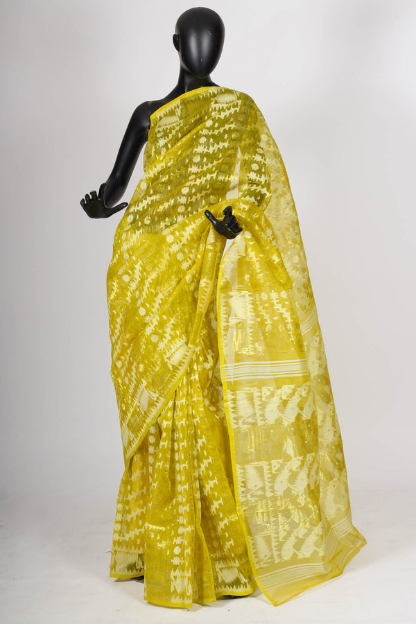 Lime green jamdani saree