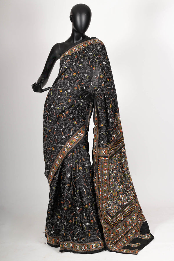 Black Kantha Saree