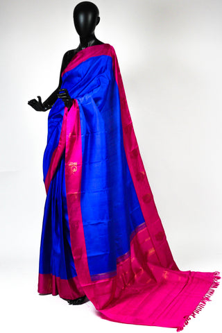 Blue and pink kanchipuram saree