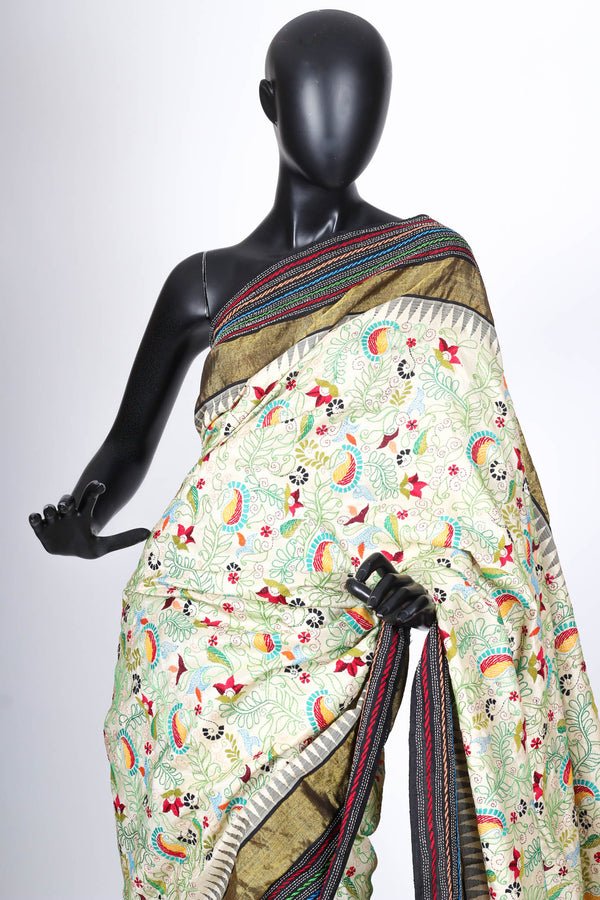 The Charulata Sari. Silk with Kantha Embroidery.