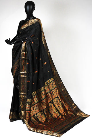 Black and gold baluchari saree