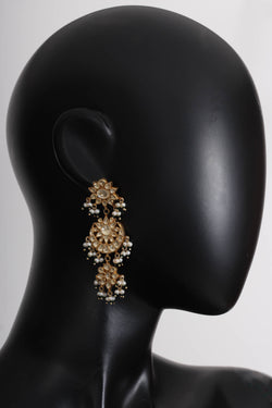 Silver Gold Plated Glass Pearl Amrapali Earrings
