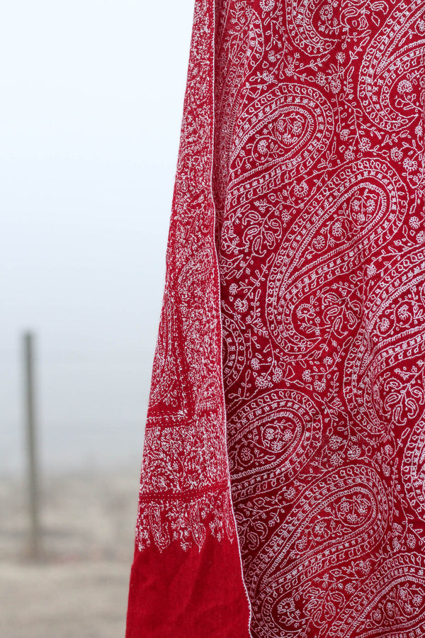 Lady in Red Pashmina Shawl
