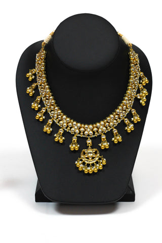 Amrapali Silver Gold Plated Leafy Crystal Pearl Studded Necklace Set