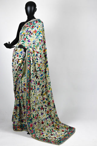 Birds and Flowers Gara Parsi saree