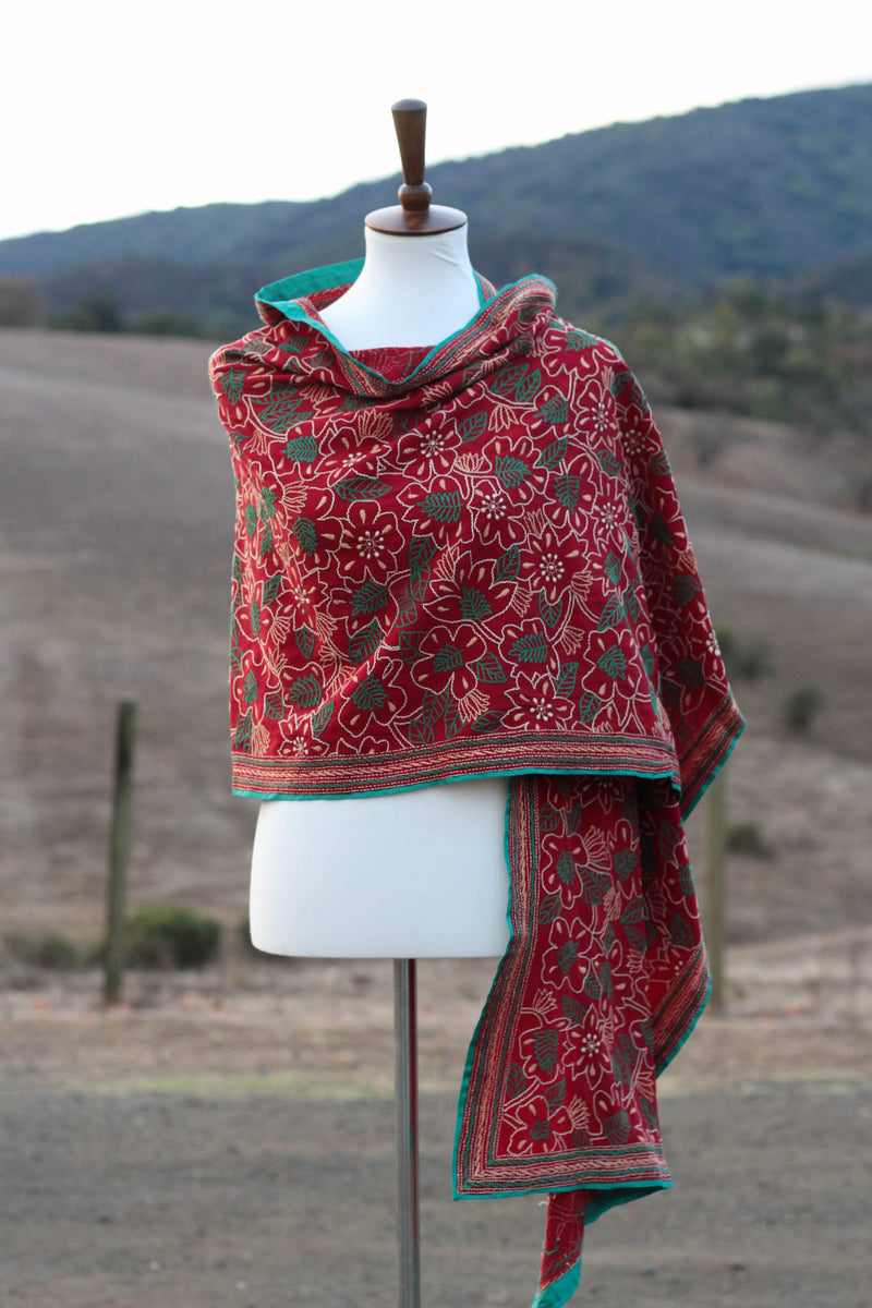 The Gypsy Flower Kantha scarf