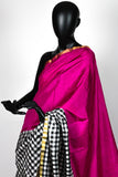 Checkers and Pink Kanchipuram Saree