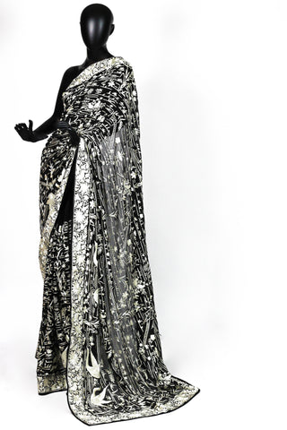 Black all over crane parsi saree