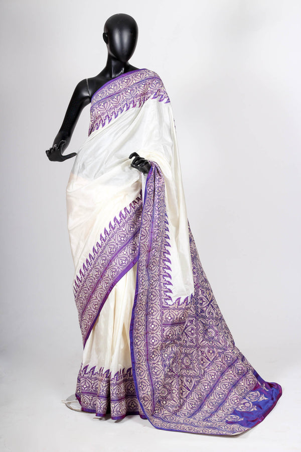 White and Purple Kantha Saree