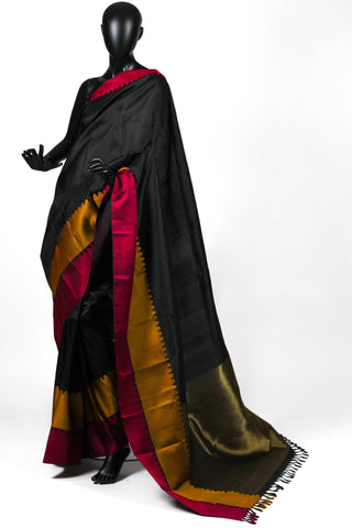 Black Plum Kanjiveram Saree