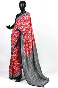 Red and Black Silk Saree