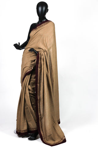 Brown fletcher saree with slim border