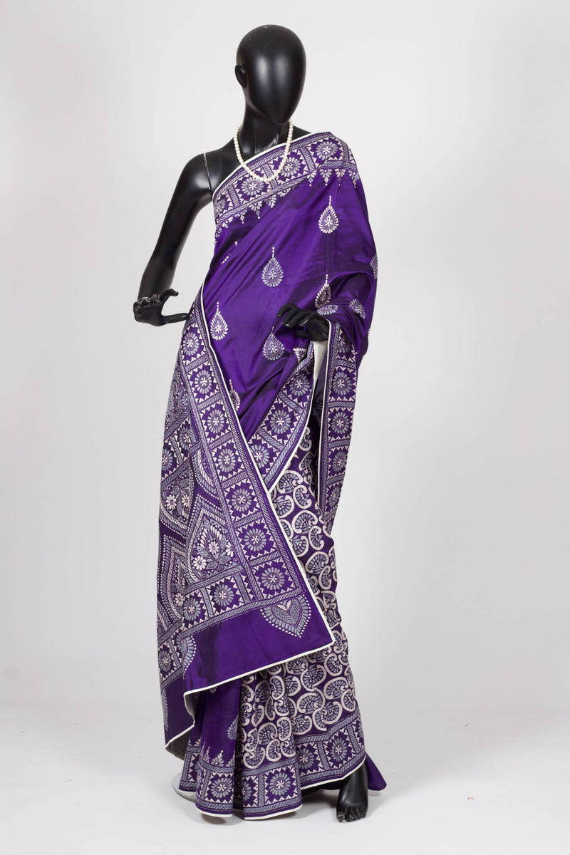 Purple kantha saree