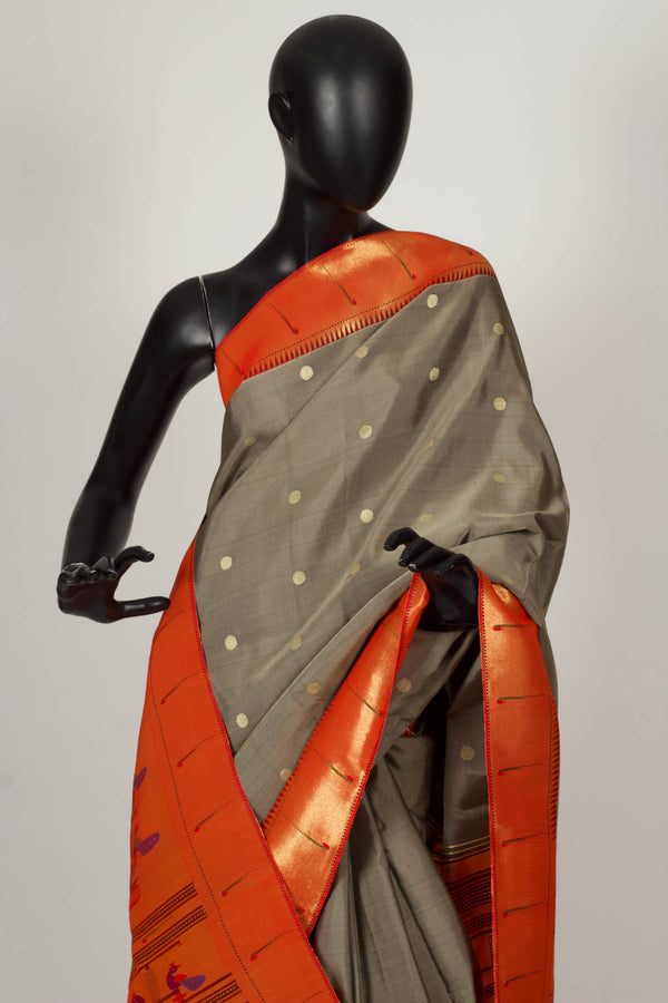 Grey Paithani saree