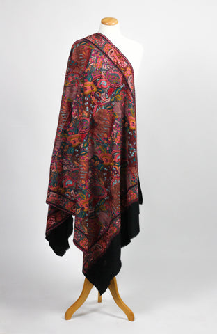 Black Embroidered Wool Shawl