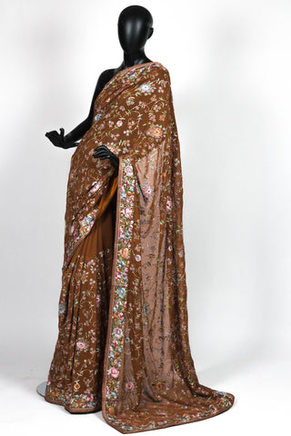 Brown gara parsi saree