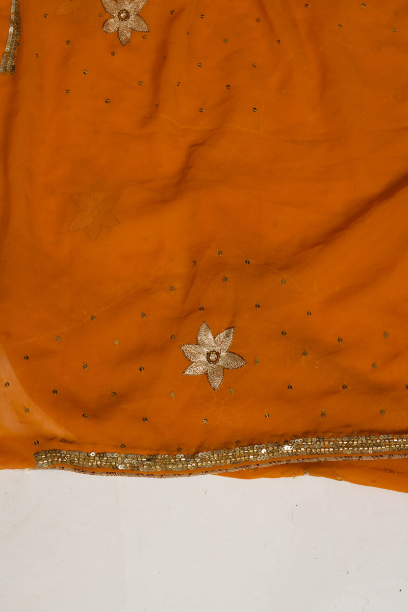 Orange Georegette Saree