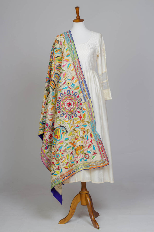 Off White Kantha Dupatta