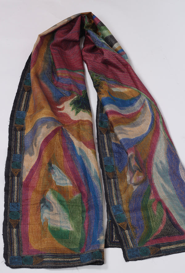 Hand Painted Kantha Scarf