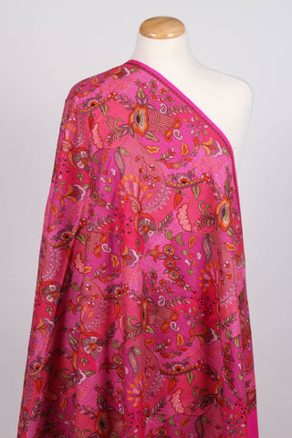Pink embroidered wool shawl