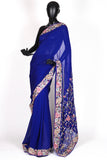 Royal blue parsi saree