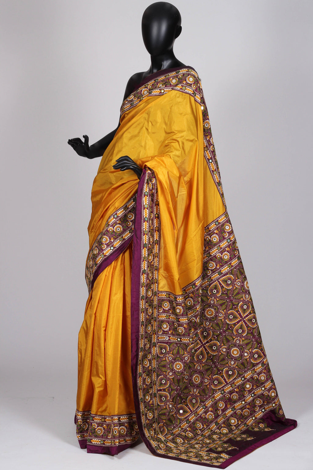 Yellow Ochre Kantha Saree