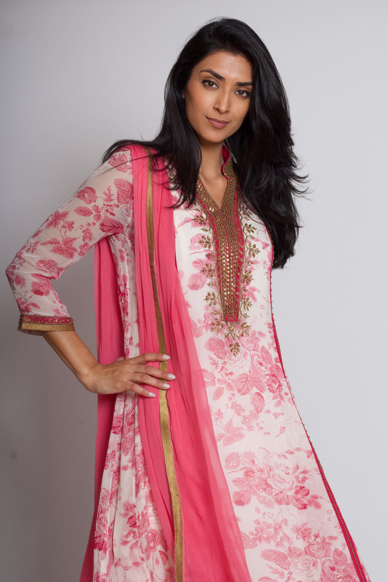 Pink and White Printed Kurta Set