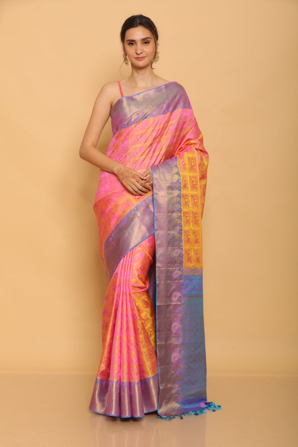 Short Color Kanjiveram Silk Saree