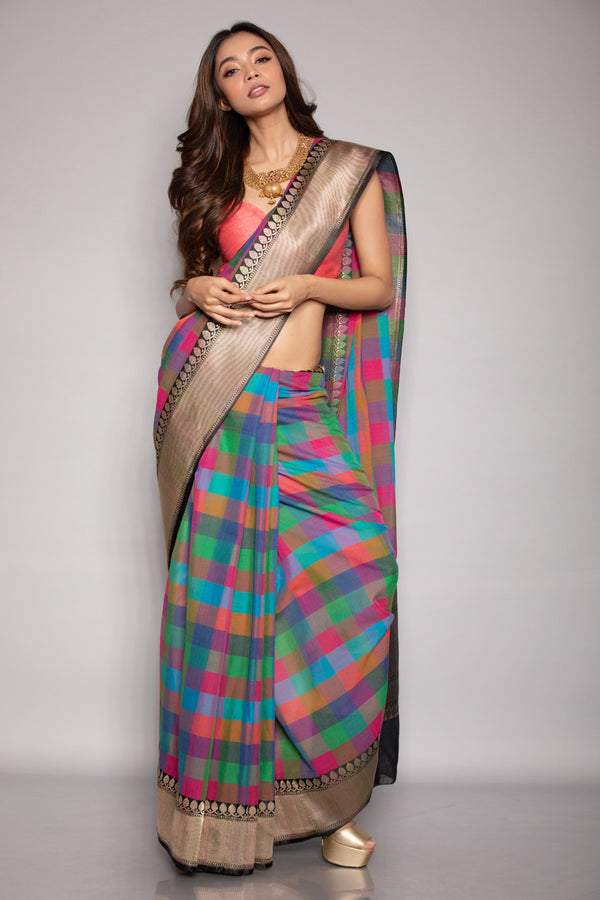Check Multicolor Benarasi Cotton Saree