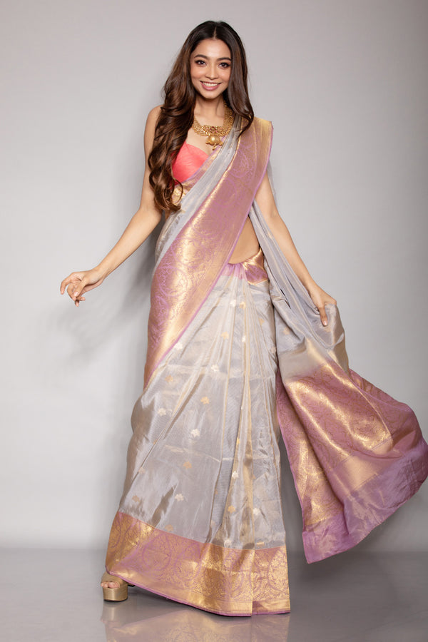 Grey Summer Silk Benarasi Saree