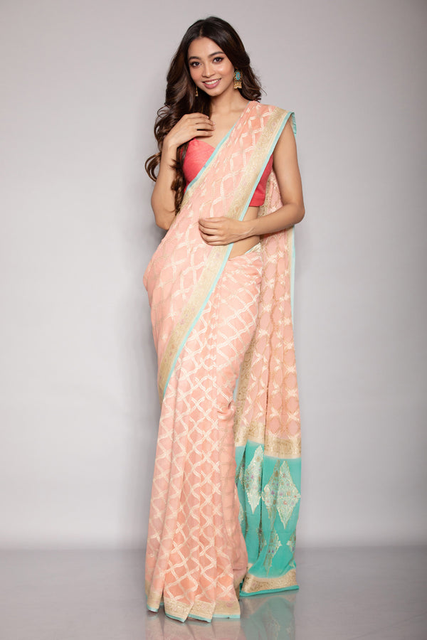 Peach Benarasi Georgette Saree