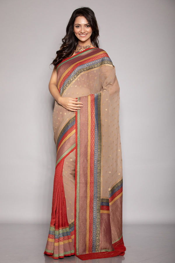 Benarasi Georgette Half and Half Saree